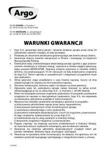 Warunki gwarancji Argo SA