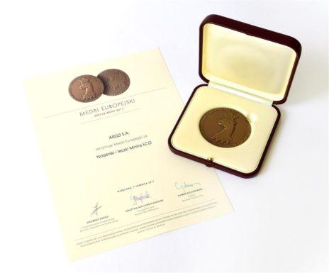 Medal Europejski za notatniki i teczki Mintra ECO 2017