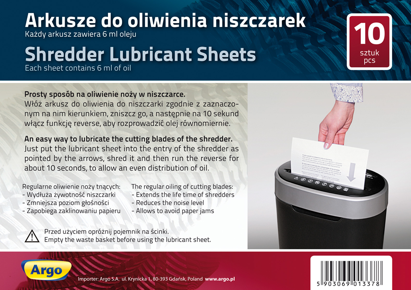 Shredder lubricant sheets