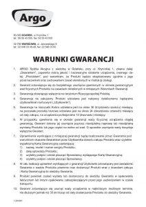 Warunki gwarancji Argo - 1-201801