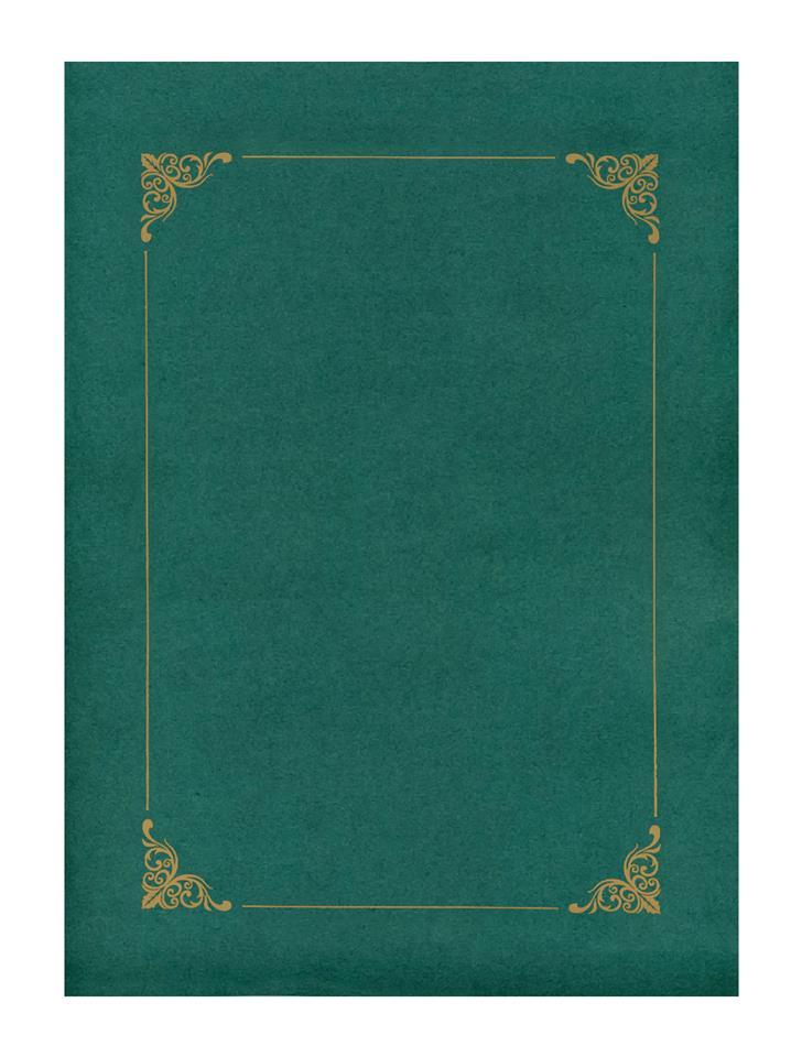 Teczka zielona ze złotą ramką
