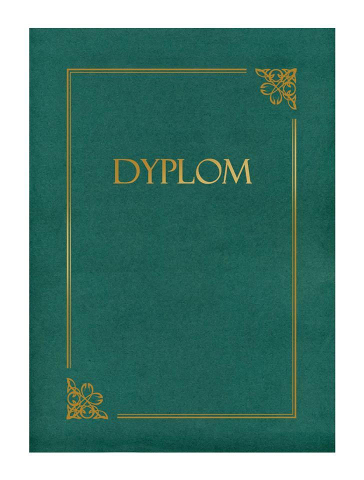 Teczka zielona ze złotą ramką i napisem
