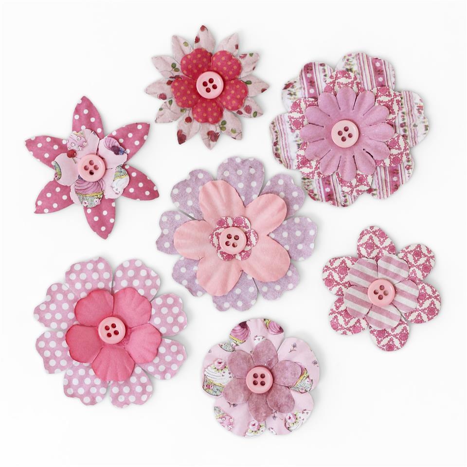 Kwiaty papierowe z guziczkiem różowy