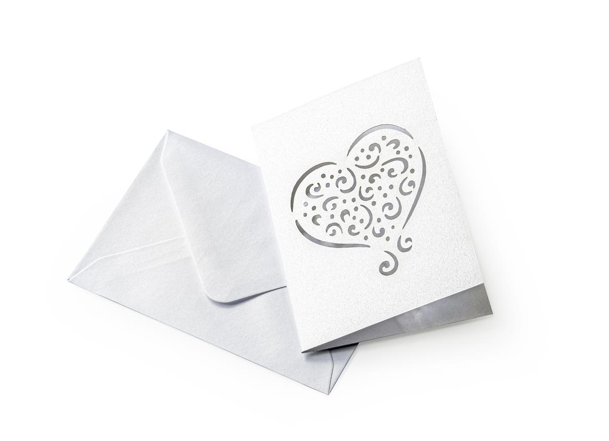 Zestaw z sercem Pearl biały (karnet+koperta 70x100mm)