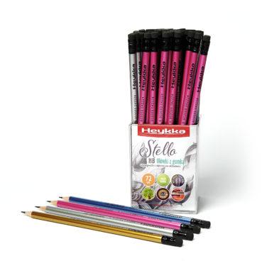 Ołówek metaliczny Stello HB z gumką display 72 sztuki