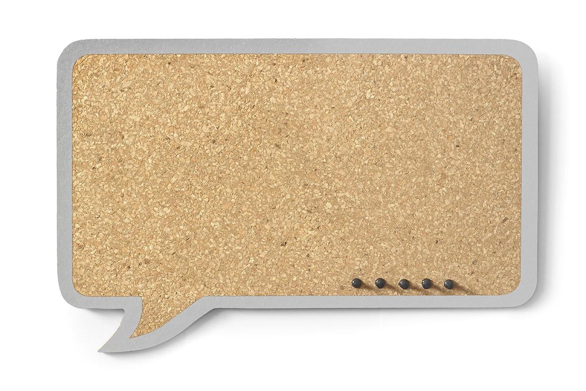 Cork Board Cloud Rectangular – grey frame
