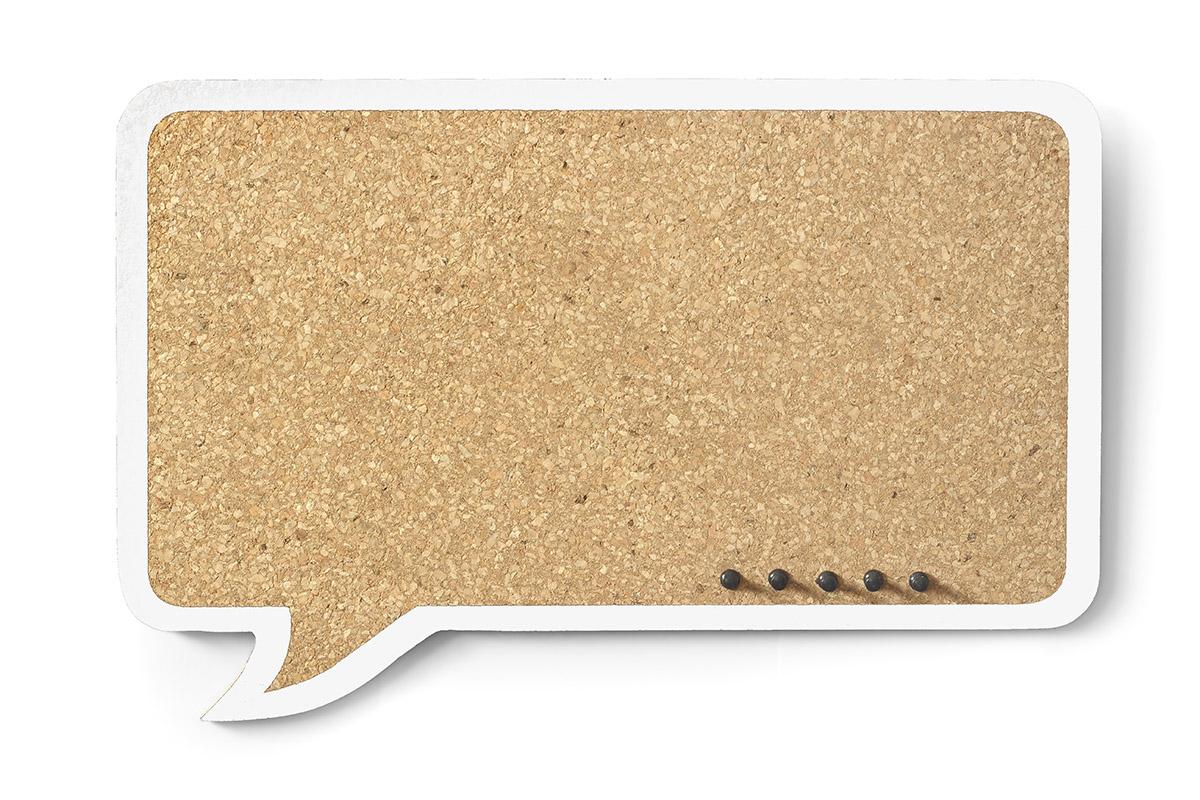 Cork Board Cloud Rectangular – white frame